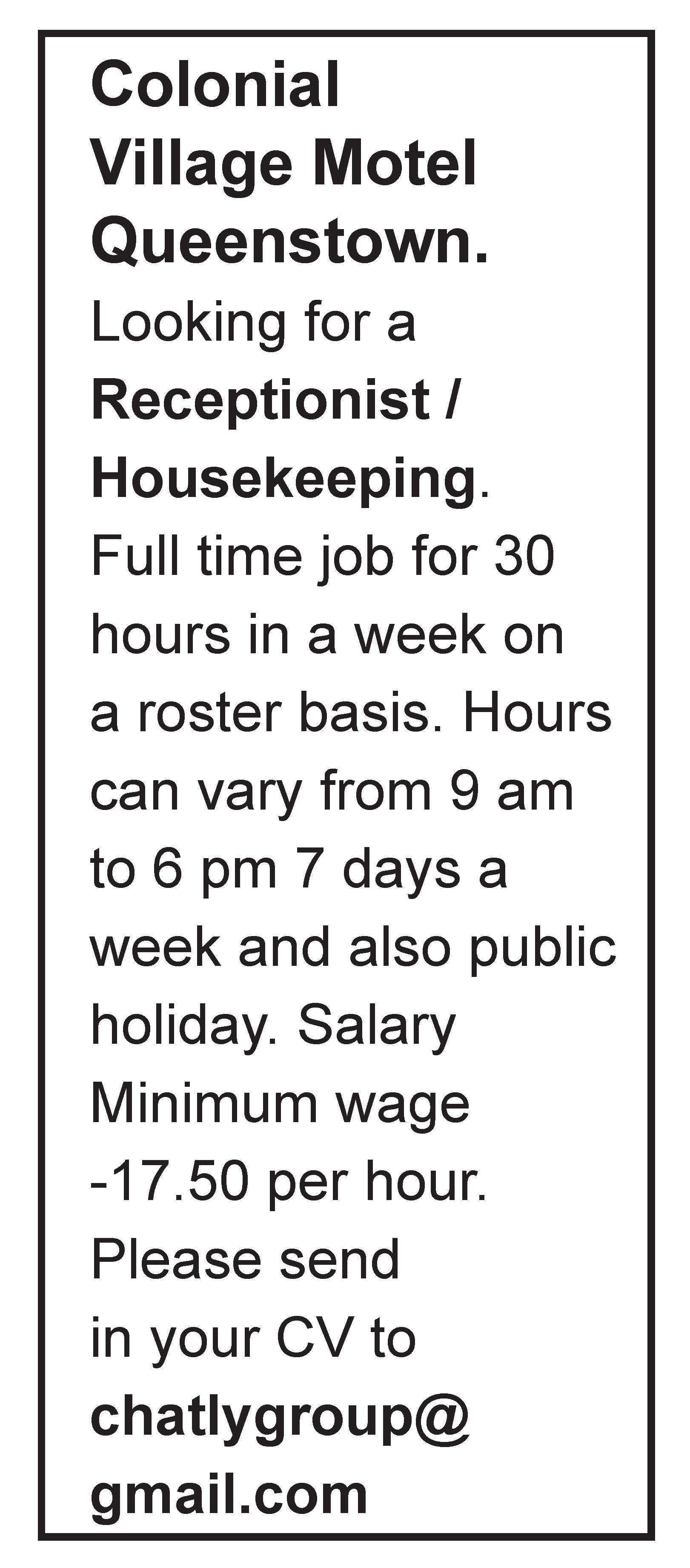 Receptionist | Housekeeping | JobFix
