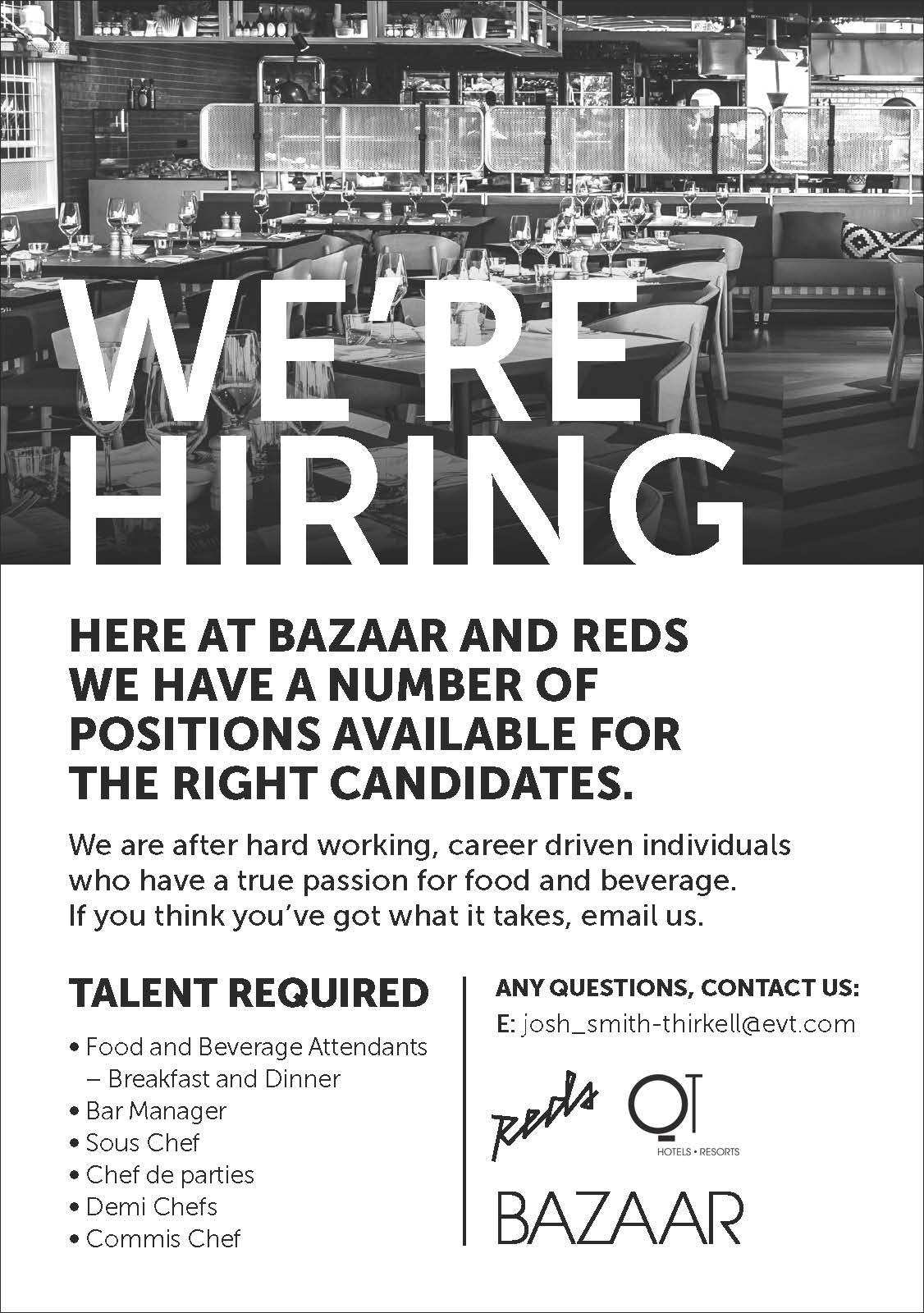 Food and Beverage Attendants - Breakfast and Dinner; Bar Manager ...